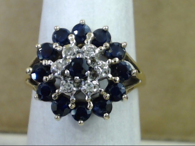 VINTAGE SAPPHIRE DIAMOND CLUSTER ACCENT RING REAL 10K GOLD SIZE 6.75