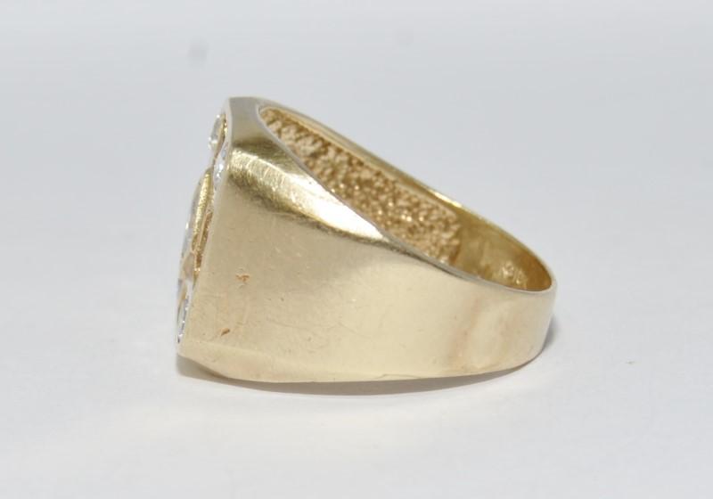 10K Yellow Gold Men's Round, Princess, & Asscher Diamond Cluster Ring sz 11