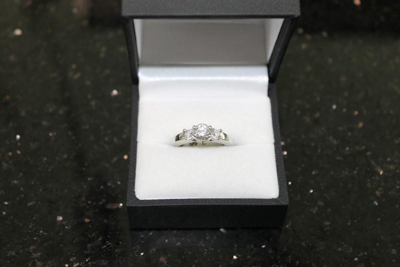 Brilliant Round Cut Diamond 14K White Gold Anniversary Ring
