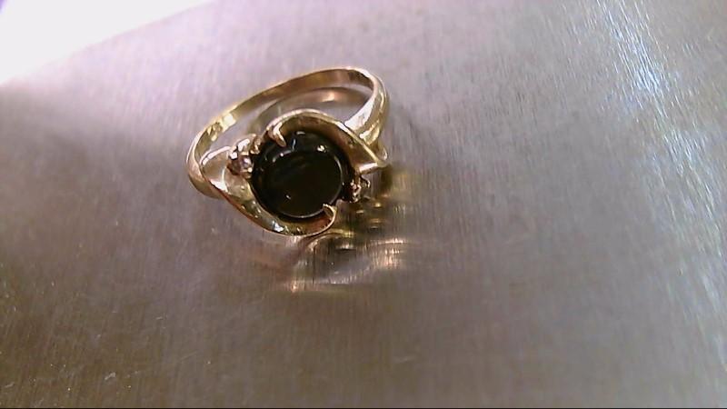Synthetic Cats Eye Crysoberyl Lady's Stone & Diamond Ring