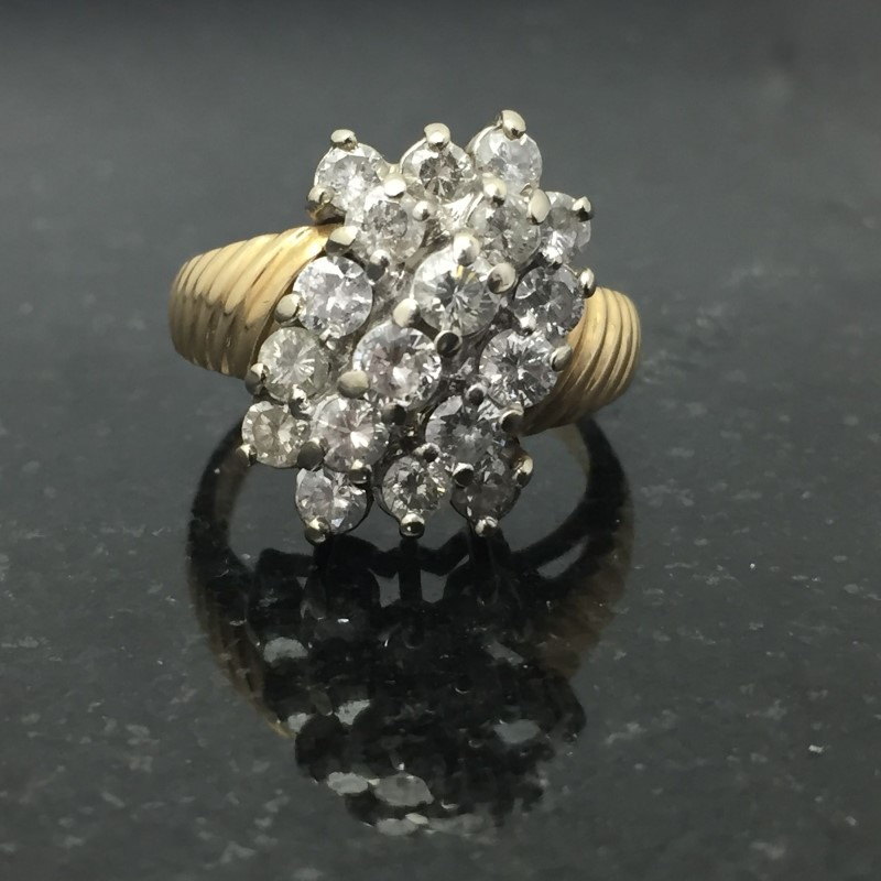 Lady's Diamond Cluster Ring 18 Diamonds 1.98 Carat T.W. 14K Yellow Gold 4.1dwt