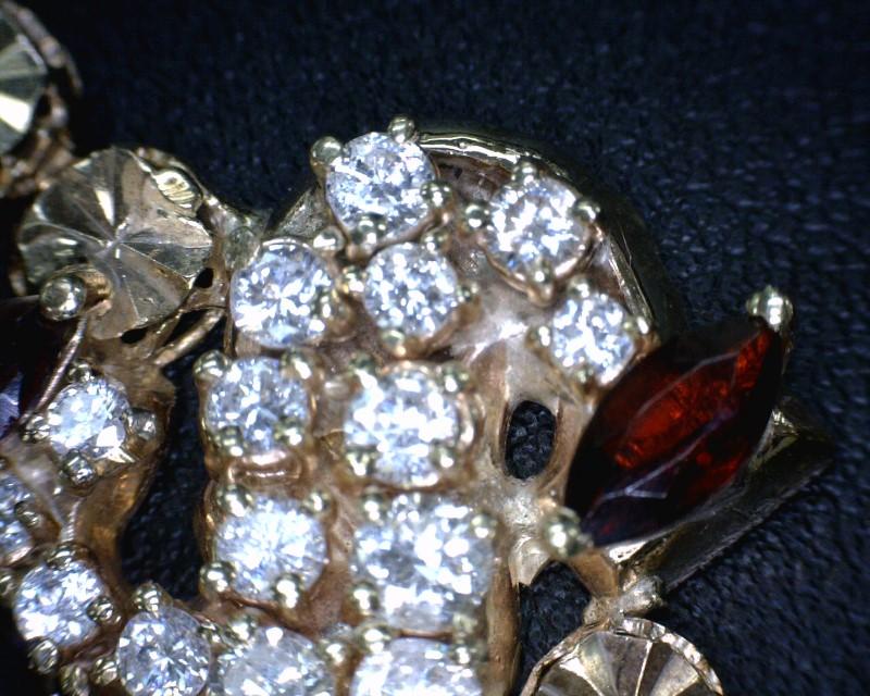Almandite Garnet Gold-Diamond & Stone Bracelet 19 Diamonds 1.03 Carat T.W.