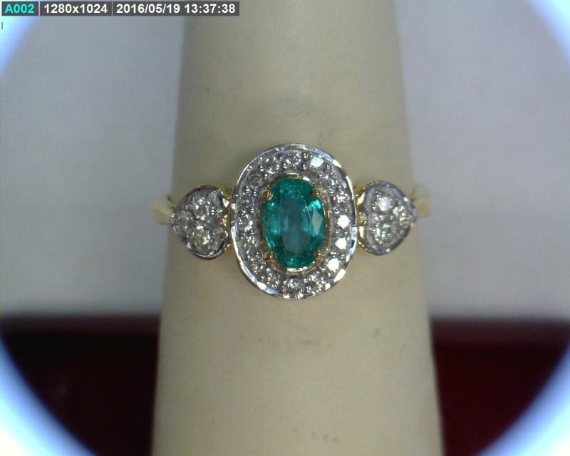 Emerald Lady's Stone & Diamond Ring 22 Diamonds .22 Carat T.W. 18K Yellow Gold