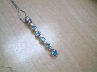 Blue Stone Stone Necklace 10K White Gold 3g