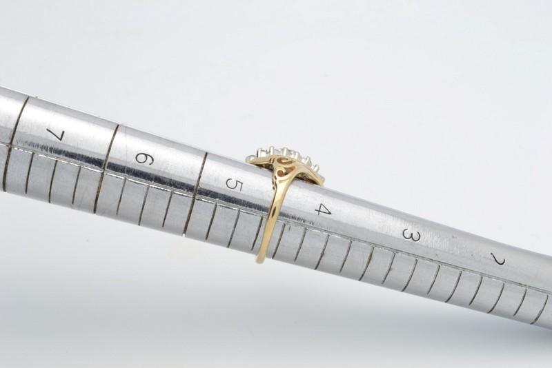 ESTATE DIAMOND RING SOLID 14K GOLD CLUSTER FILIGREE COCKTAIL SIZE 4