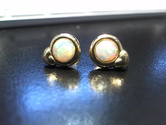Opal Gold-Stone Earrings 14K Yellow Gold 2.8g