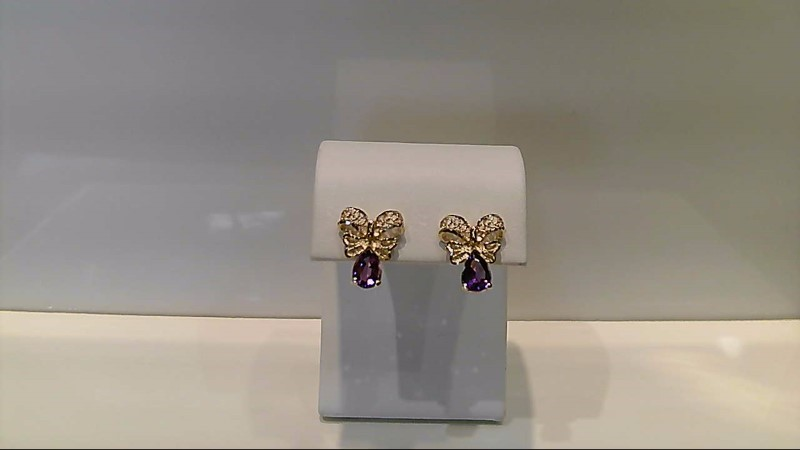 Amethyst Gold Stone Earrings 14K Yellow Gold 2.1g