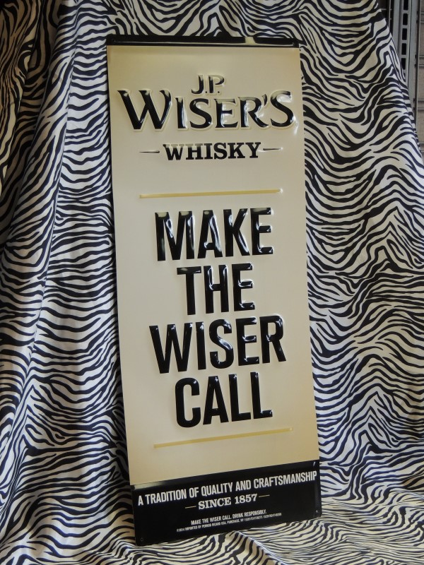 JP WISER'S WHISKEY TIN SIGN MAKE WISER CALL BAR BEER ROOM MAN CAVE