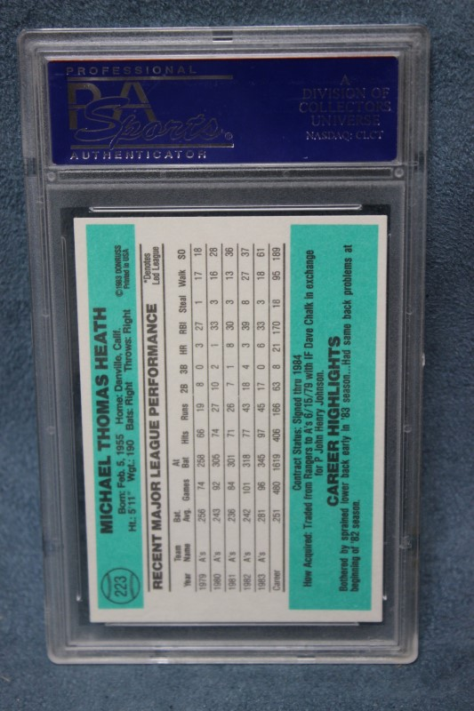 Mike Heath 1984 Donruss Oakland A's #223 PSA NM-MT 8