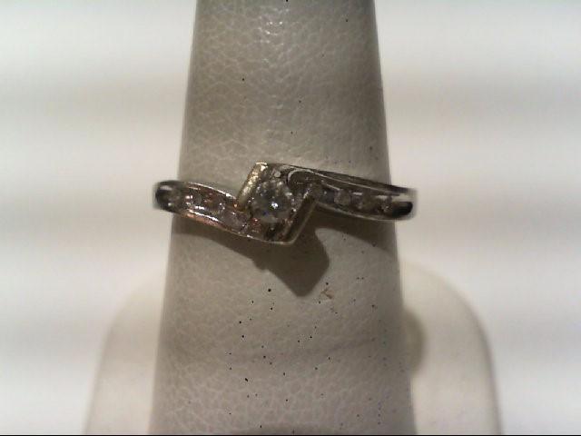 Lady's Diamond Engagement Ring 9 Diamonds .11 Carat T.W. 10K White Gold 1.8g