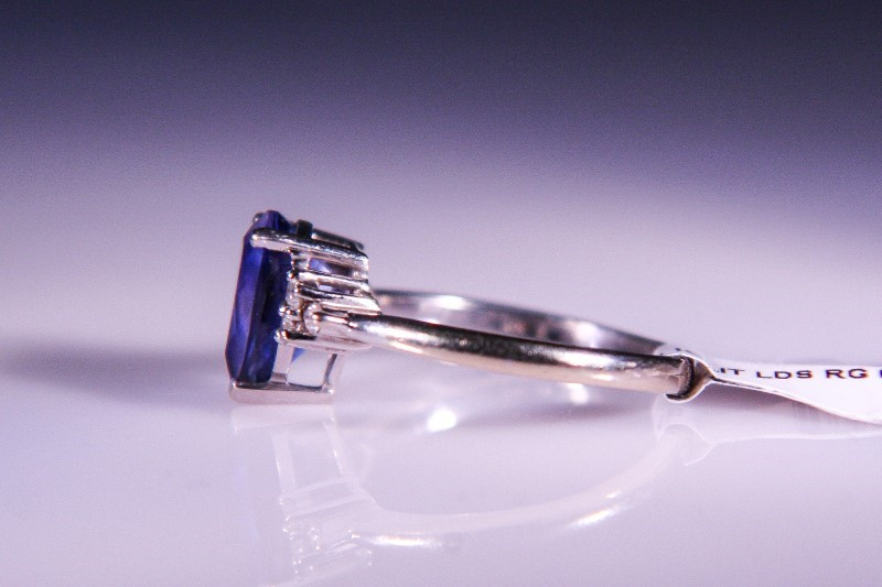 Synthetic Iolite Lady's Stone & Diamond Ring 6 Diamonds .18 Carat T.W.
