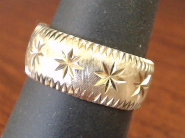 VINTAGE RING BAND SOLID REAL 14K GOLD STAR BURST WED UNISEX SIZE 7