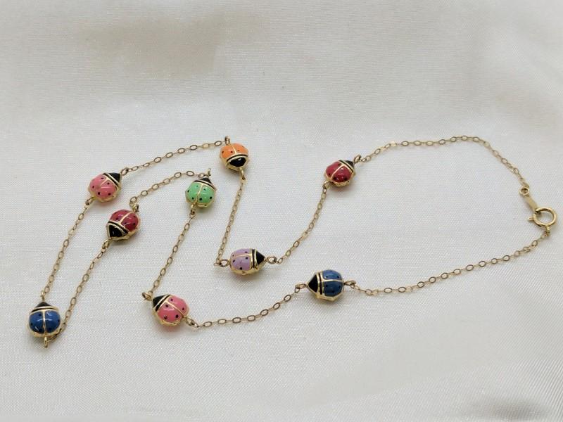 10K Yellow Gold Ladybug Necklace 2.6g
