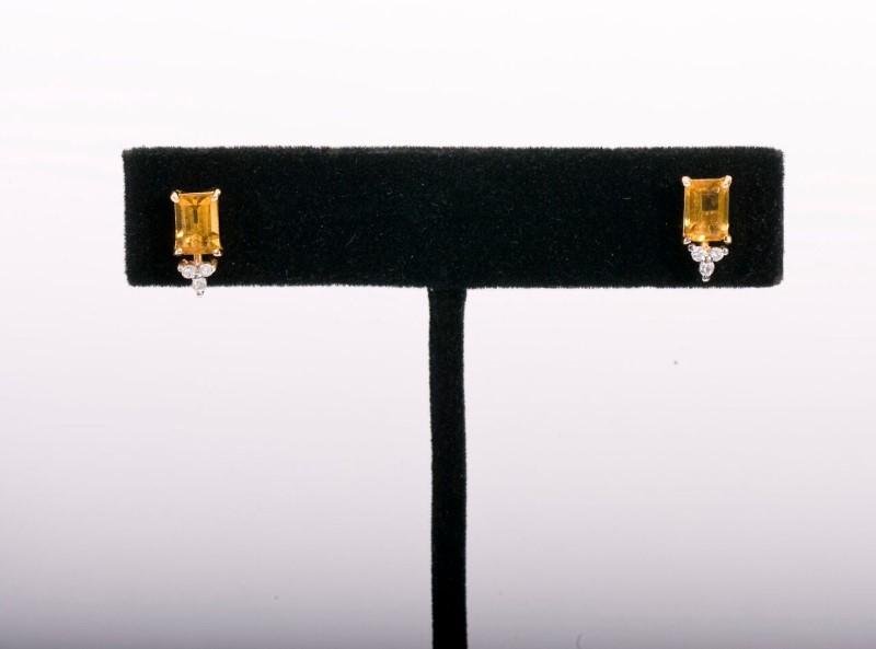 Earrings 14KYG Citrine&Diamonds .06ctw