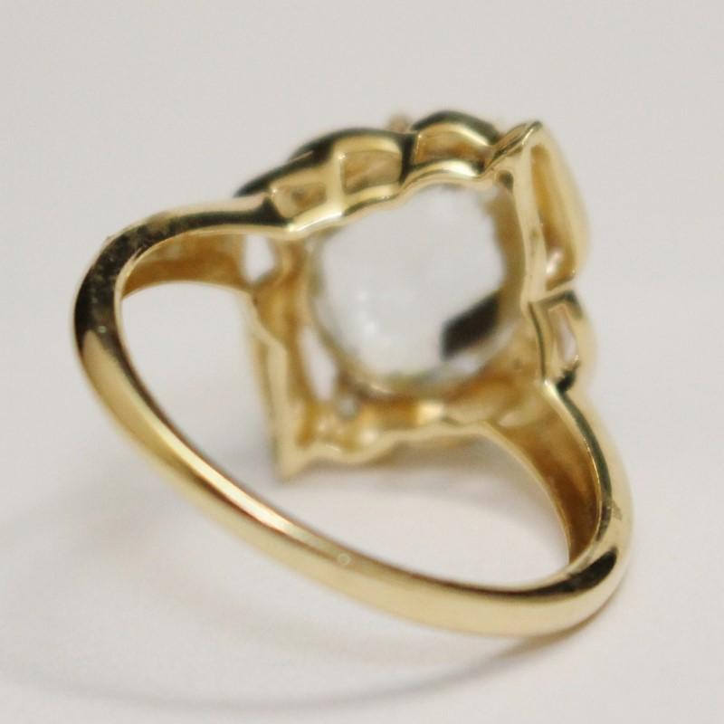 14K Yellow Gold Oval Cut Aquamarine  Stone Ring Size 8