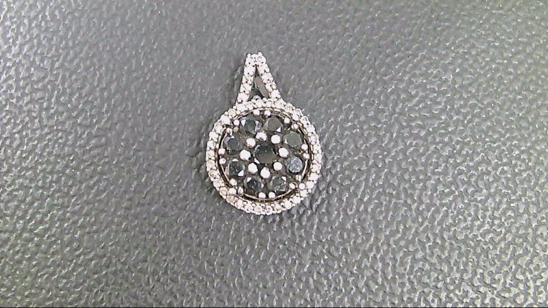 Silver-Diamond Pendant 10 Diamonds .10 Carat T.W. 925 Silver 1.7g