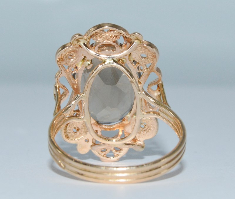14K Yellow Gold Vintage Inspired Smokey Topaz Filigree Cocktail Ring Size 8