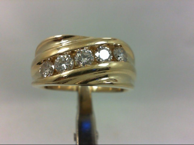 Gent's Gold-Diamond Wedding Band 5 Diamonds 1.00 Carat T.W. 14K Yellow Gold