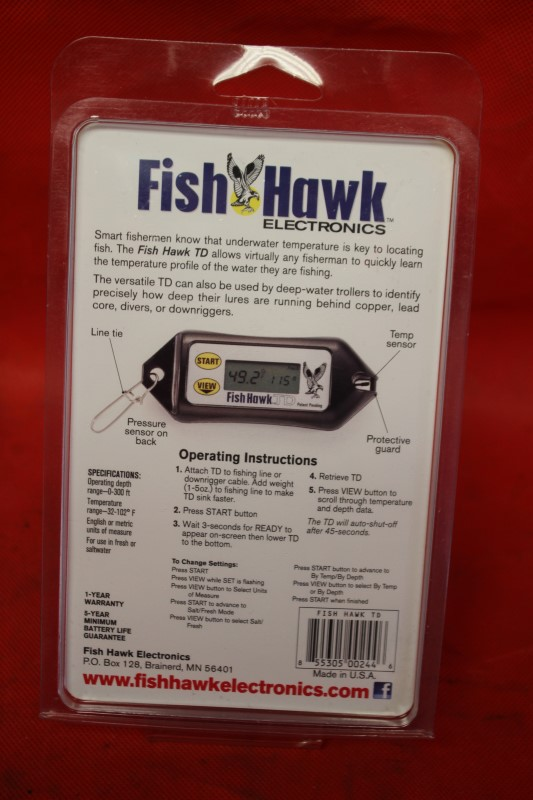 Fish Hawk TD Digital Water Temperature and Depth Reader NEWEST MODEL
