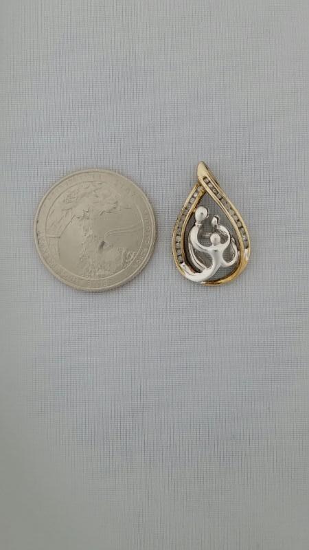 Gold-Multi-Diamond Pendant 24 Diamonds .24 Carat T.W. 10K 2 Tone Gold 2.6g