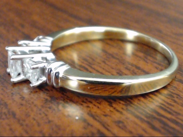 VINTAGE PRINCESS 3 DIAMOND ENGAGEMENT WED RING 14K GOLD SIZE 8.5