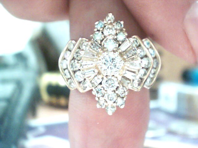 Lady's Diamond Cluster Ring 43 Diamonds 1.56 Carat T.W. 14K Yellow Gold 4.6dwt