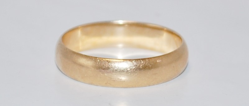 14K Yellow Gold Men's Wedding Band Size:9.75