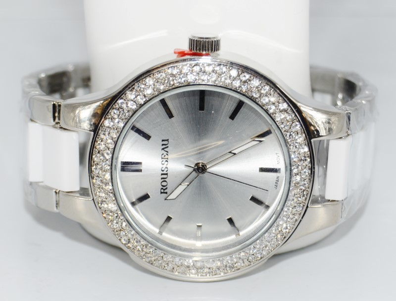 Rousseau 9011 Women's Andrea Collection St. Steel & White w/ Crystal Bezel