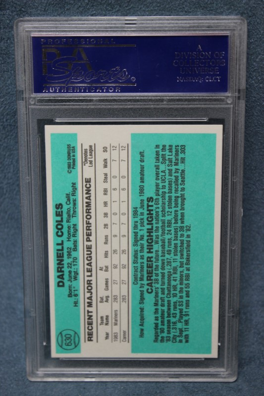 Darnell Coles 1984 Donruss Seattle Mariners #630 PSA NM-MT 8