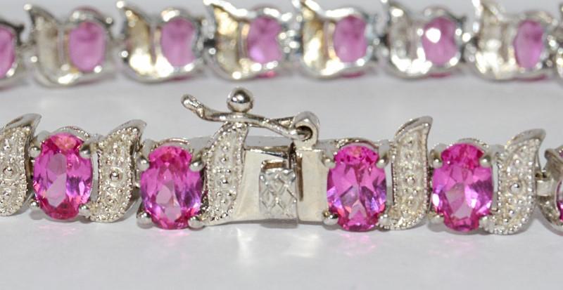 """Sterling Silver Oval Pink Stone Swirl Milgrain Tennis Bracelet 7"""""""