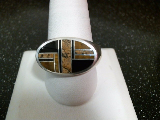 Brown Stone Gent's Silver & Stone Ring 925 Silver 18.7g Size:12