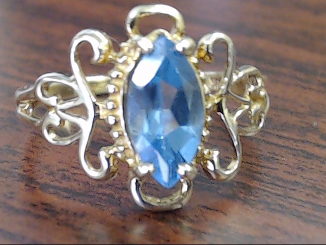 Blue Stone Lady's Stone Ring 10K Yellow Gold 2.2g Size:7