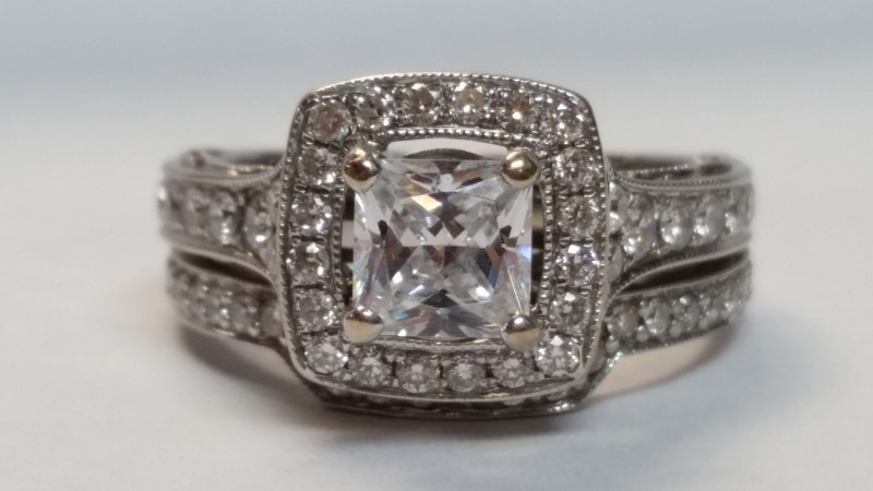 Synthetic Lady's Stone & Diamond Ring 60 Diamonds .98 Carat T.W.