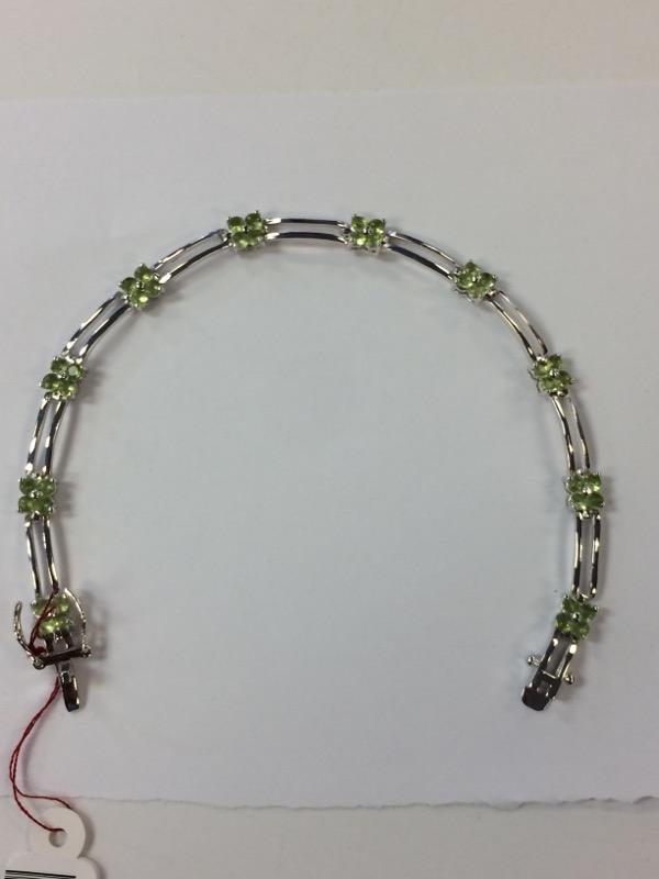 Green Stone Silver-Stone Bracelet 925 Silver 8g