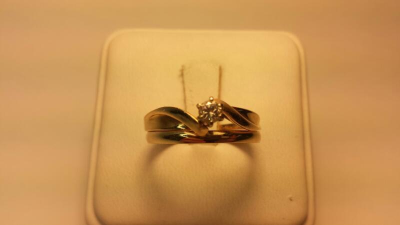 14k Wedding Set .16CTW Round Diamond Size 9.5