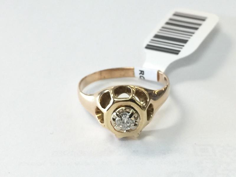 Lady's Diamond Fashion Ring .10 CT. 14K Yellow Gold 2.3dwt Size:7.5