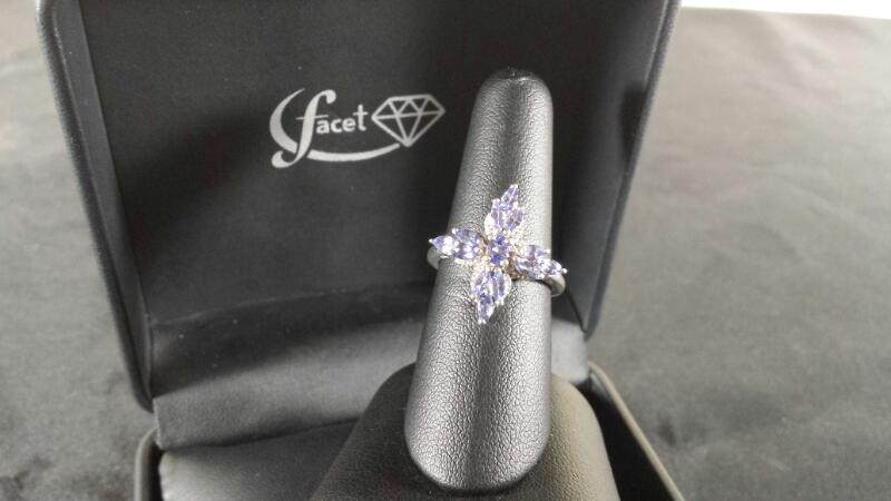 Oval Marquise Amethyst Lady's Silver & Stone Ring 925