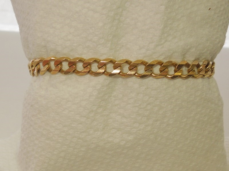 Gold Curb Bracelet 14K Yellow Gold 10.9g