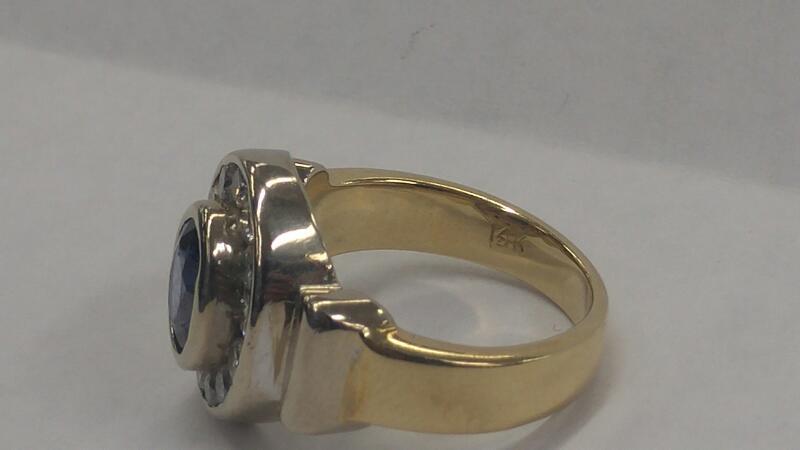 Blue Stone Gent's Stone & Diamond Ring 13 Diamonds .65 Carat T.W.