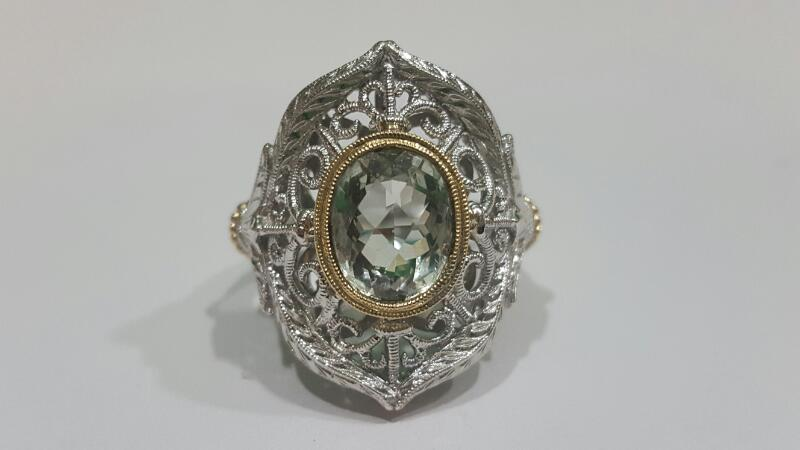 Gabriel & Co. 925 Silver/18K Roman Style Peridot Ladies Ring