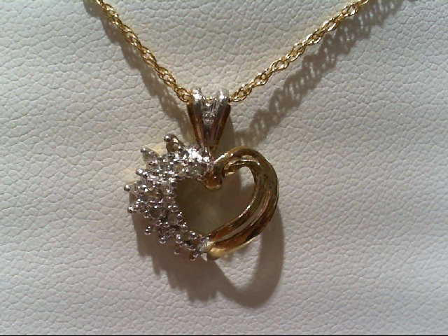 Gold-Multi-Diamond Pendant 15 Diamonds .15 Carat T.W. 10K 2 Tone Gold 1.1g