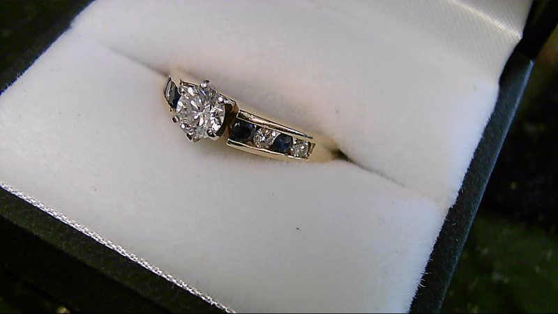 Blue Sapphire & Diamond 14K Yellow Gold Engagement Ring
