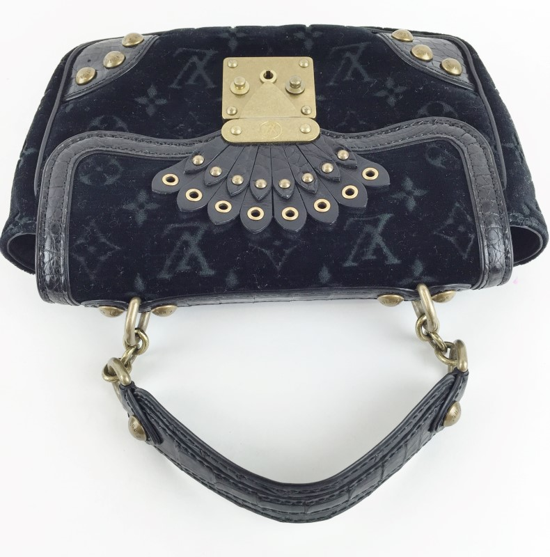 LOUIS VUITTON BLACK VELOUR GRACIE VELVET ALLIGATOR BAG