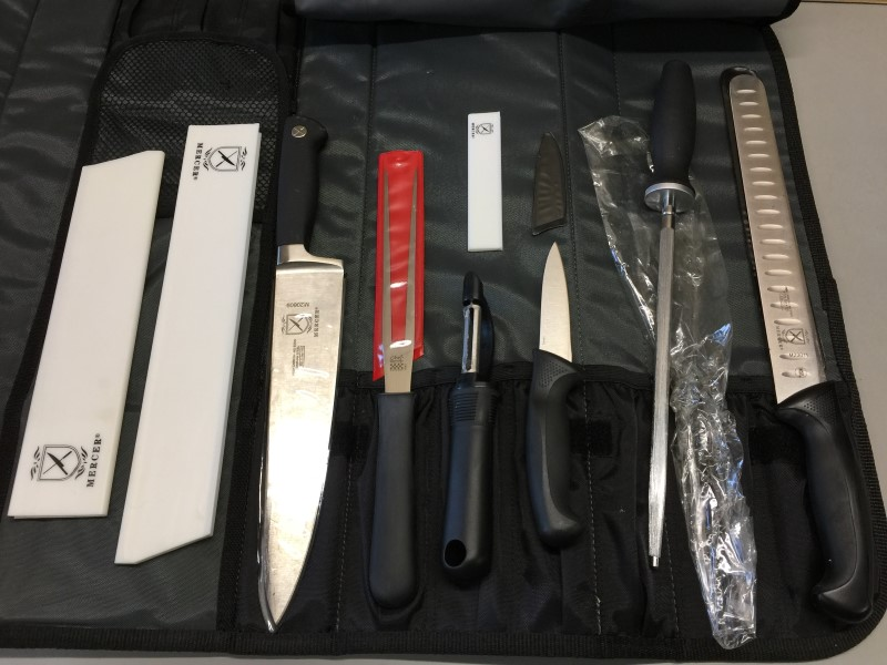 MERCER CUTLERY SET 3 KNIVES, SHARPENER, PEELER, FORK & CASE