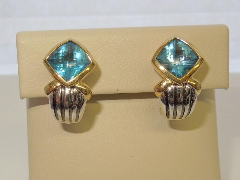 Synthetic Blue Topaz Gold-Stone Earrings 14K 2 Tone Gold 10.6g