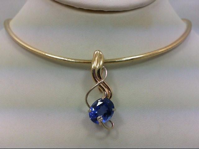 Blue Stone Gold-Diamond & Stone ENHANCER .03 CT. 14K Yellow Gold 5.7g