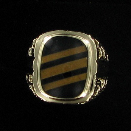 Synthetic Onyx Gent's Stone Ring 14K Yellow Gold 5.3dwt