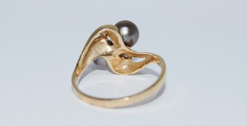 14K Yellow Gold Bypass Shank Chocolate Brown Tahitian Pearl Diamond Ring Fall