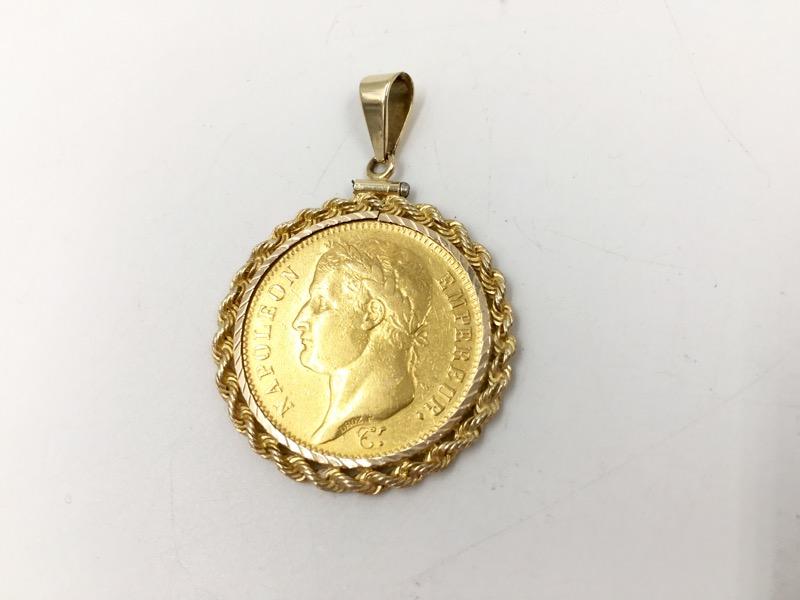 1811 France Napoleon 40 Francs Gold Coin In 14k Gold Rope Bezel