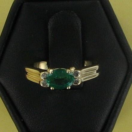 Green Stone Lady's Stone & Diamond Ring 4 Diamonds .08 Carat T.W.